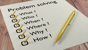 Problem solving checklist ballpen and tick marks Stock Image