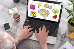 Problem solving concept on a laptop screen. Problem solving concept shown on a laptop used by a man royalty free stock image