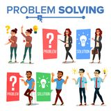 Problem Solving Concept Vector. Thinking Man And Woman. Question Mark, Light Bulb. Creative Project Idea. Issue, Trouble Royalty Free Stock Image