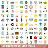 100 problem solving icons set, flat style. 100 problem solving icons set in flat style for any design vector illustration Stock Photography