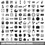 100 problem solving icons set, simple style. 100 problem solving icons set in simple style for any design vector illustration Royalty Free Stock Image