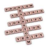 Problem Solving Steps Crossword Puzzle. Brainstorm Rose Gold 3D illustration  on white background Royalty Free Stock Photo