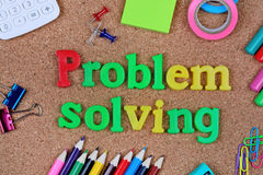 Problem solving words on cork. Background stock photos