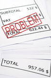 Problem stamp on financial paper Stock Photography
