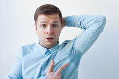 Problem with sweating - hyperhidrosis Royalty Free Stock Photography