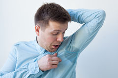 Problem with sweating - hyperhidrosis Royalty Free Stock Image