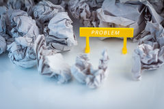 Problem symbol sign with trash paper Royalty Free Stock Images
