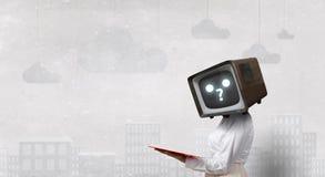 Problem of television addiction. Mixed media Stock Photos