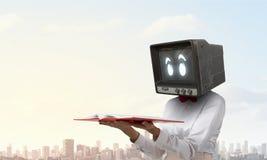 Problem of television addiction. Mixed media . Mixed media Royalty Free Stock Image
