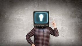 Problem of television addiction . Mixed media . Mixed media Royalty Free Stock Photography