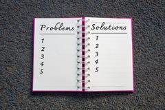 Problem und Lösung, Geschäfts-Konzept Probleme und Lösungsliste im weißen Notizbuch Stockbild