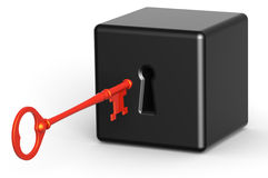 Problem Unlock. 3D rendered illustration of red key about to unlock a black block Royalty Free Stock Images