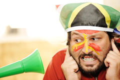 Problem with vuvuzela. Funny man Stock Images