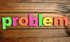 Problem word on table Stock Photo