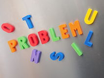 Problem. The word problem written with colorful magnetic letters Stock Photos