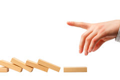 Problem zatrzymywać domino skutek Zdjęcie Stock