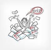 Problema con l'illustrazione di vettore di concetto delle fatture che urla per l'uomo di aiuto illustrazione vettoriale