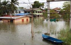 Problema da inundação em Lopburi Tailândia Foto de Stock Royalty Free