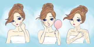 Problema de pele da cara da mulher dos desenhos animados ilustração stock