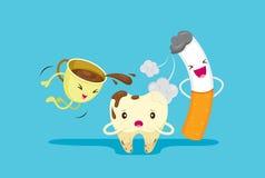 Problema decaído del diente con humo y café Imágenes de archivo libres de regalías