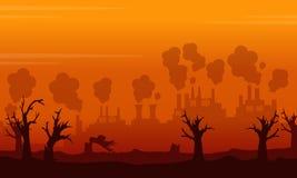 Problema del ambiente del paisaje en backgroud anaranjado Imagenes de archivo