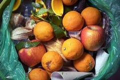 Problema di rifiuti alimentari, rimanenze gettate nella pattumiera Alimento guastato nel recipiente dei rifiuti Le arance e le me immagine stock