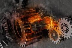 Problema di sistema del meccanismo di ingranaggi rappresentazione 3d Fotografia Stock Libera da Diritti