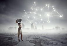 Problema do apego da televisão Meios mistos Imagem de Stock Royalty Free