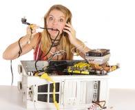 Problema do computador da mulher Fotografia de Stock Royalty Free