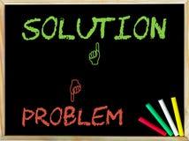 Problema e ao contrário do sinal contra a solução e como o sinal Fotografia de Stock