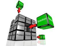Problema e soluzione simbolizzati con le scatole di volo Fotografia Stock