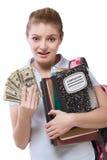 Problema grave del coste de educación para la estudiante Imágenes de archivo libres de regalías