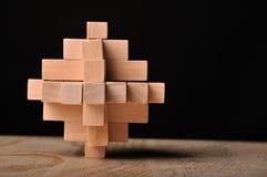 Problema solucionado, rompecabezas de madera Foto de archivo libre de regalías