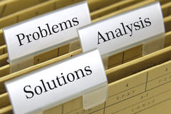 Problemas, análise e soluções imagens de stock