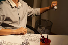 Problemas con proyecto en la noche Foto de archivo libre de regalías
