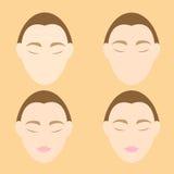 Problemas de la arruga de la cara de la mujer en fondo anaranjado ilustración del vector