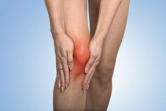 Problemas de la junta de rodilla del tendón en la pierna de la mujer indicada con el punto rojo Foto de archivo libre de regalías