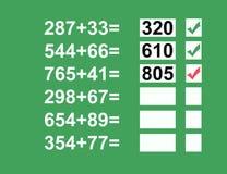 Problemas de matemáticas Fotos de archivo