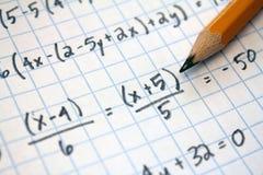 Problemas de matemáticas Foto de archivo