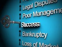 Problemas de negócio, chave de prata, texto do sucesso Fotografia de Stock Royalty Free