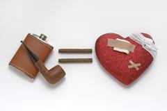Problemas del corazón resultando del alcohol y de fumar Foto de archivo libre de regalías