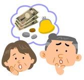 Problemas del dinero del par mayor, expresión de la cara ilustración del vector