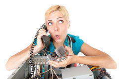 Problemas do computador da mulher Fotografia de Stock Royalty Free