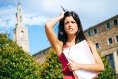 Problemas fêmeas da estudante universitário Fotografia de Stock