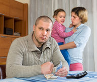 Problemas financieros en familia Fotografía de archivo