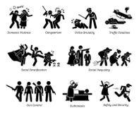 Problemas y figura sociales iconos del palillo de los asuntos críticos del pictograma libre illustration