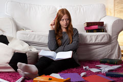 Problematic schoolwork at home Stock Photography