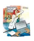 Probleme und Probleme Eine junge Frau in einer Robe steht nahe dem Schreibtisch des Leiters und h?lt ihren Kopf b?ro komisch loka lizenzfreie abbildung
