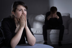 Problemen in huwelijk stock foto