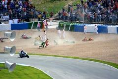Problemen tijdens kwalificerend ras in Jerez stock foto